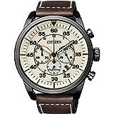 CITIZEN Herren Chronograph Quarz Uhr mit Leder Armband CA4215-04W*